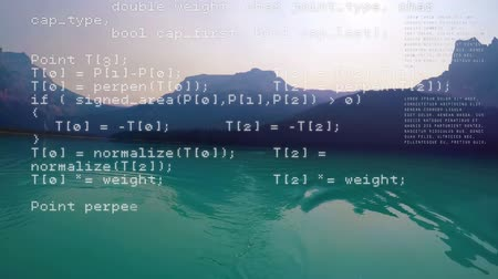comando : Digitally generated animation of program codes moving with a background of a calm lake