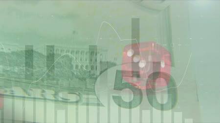 euro banknotes : Digital animation of rolling dice and paper bills while graphs move in the foreground. Stock Footage