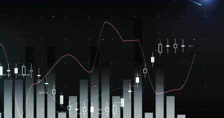 crescimento : Digital animation of different graphs moving in the screen with a dark background 4k