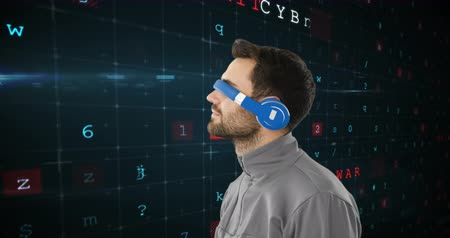 a böngésző : Digital composite of a Caucasian man wearing virtual goggles while background shows binary codes 4k