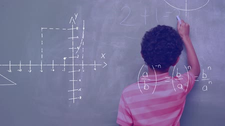 hesaplamak : Digital composite of an African-American boy writing on the board while mathematical equations and graph move in the screen