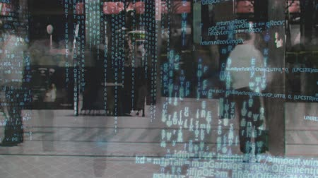 comando : Digitally generated animation of a time lapse of a busy street with program codes moving in the screen