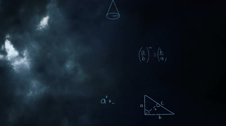 технический : Digital animation of mathematical equations moving in the screen with a background of the sky with clouds and thunder