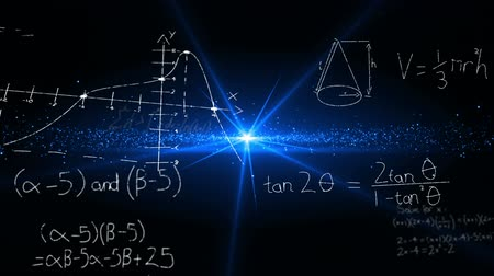cálculo : Digital animation of mathematical equations moving in the screen with a dark background with a shiny glowing blue light in the middle
