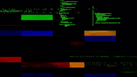 shluk : Digitally generated animation of program codes moving in the screen with colorful blinking bars