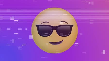 a böngésző : Digitally generated animation of smiling face with sunglasses emoji with colorful background and video glitches
