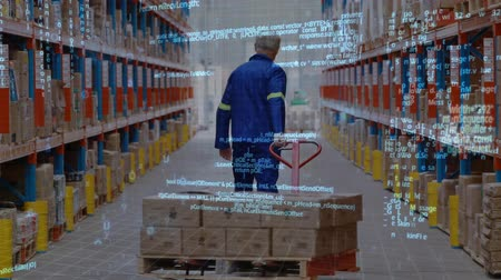 a böngésző : Digital composite of a Caucasian man dragging a fork lift with box inside a warehouse and program codes in the foreground