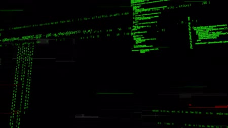 html : Digital animation of program codes and glitches moving in the screen