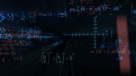 вычислять : Digital animation of mathematical equations moving in the screen against a black background
