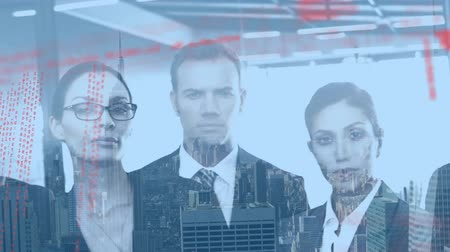 nóbl : Digital composite of diverse business people in suits inside the office with background of the city with buildings and program codes moving in the foreground