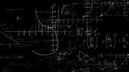 matematikai : Digital animation of mathematical equations moving in the screen against a black background