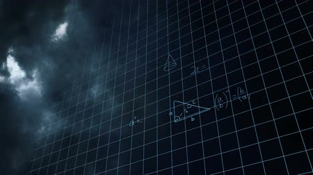 cálculo : Digital animation of mathematical equations and square patterns with background of the sky with clouds and thunder