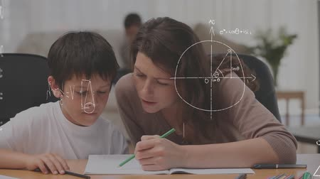 hesaplamak : Digital composite of Caucasian mother teaching son at home while mathematical equations move in the foreground