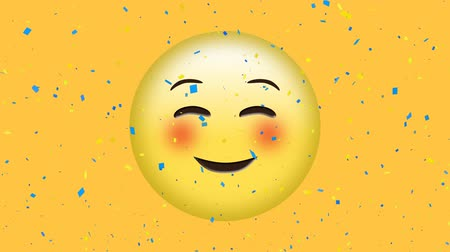 inbox : Digital animation of a blushing emoji while blue confetti fall with yellow background