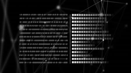 adat : Digital animation of binary codes and square patterns with asymmetrical lines in the background Stock mozgókép