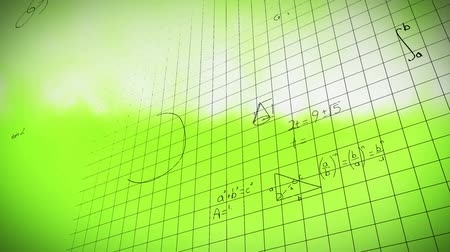 산출 : Digital animation of mathematical equations with square patterns in a yellow green background