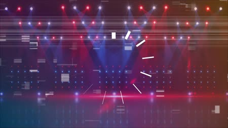 descartável : Digital animation of a stage with colorful lights and glitches and a blinking line at the middle Stock Footage