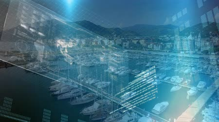 náutico : Digital animation of a futuristic interface with a globe and graphs while background shows a port with yachts