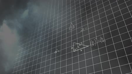 opvallend : Digital animation of mathematical equations moving in the screen against a dark background with thunder and clouds