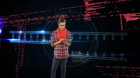 premente : Digital composite of a Caucasian woman using a tablet with program codes and base pairing in the background to produce a double helix