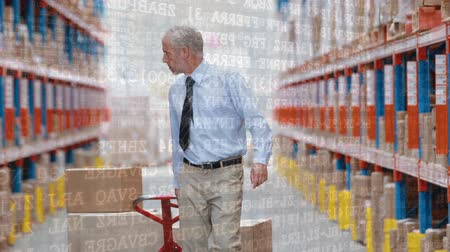 navegador : Digital composite of an old Caucasian Old man dragging a fork lift inside a warehouse with binary codes in the foreground Vídeos