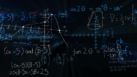 산출 : Digital animation of mathematical equations moving in the screen against a dark background 무비클립