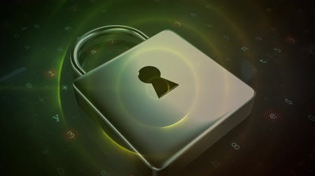 zdroj : Digital animation of a silver padlock with a big key hole while background shows a yellow circle and numbers