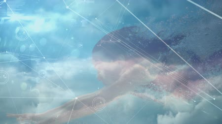 рекреационных преследования : Digital composite of a Caucasian woman swimming in the water and background of the sky with clouds and asymmetrical lines with program codes