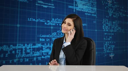 tárcsázás : Digital composite of Caucasian businesswoman talking on the phone while seating with a background of program codes
