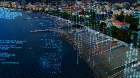 comando : Digital animation of program codes moving in the screen with a background of a city and the beach