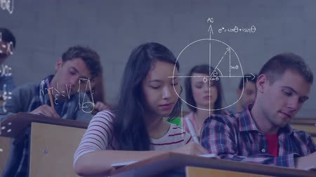 programming language : Digital composite of diverse students studying in a lecture hall while mathematical equations move in the screen Stock Footage