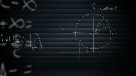 diagram : Digital animation of mathematical equations moving in the screen