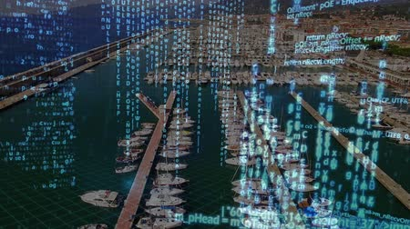 programming language : Digital animation of program codes moving in the screen with a background of port with yachts Stock Footage