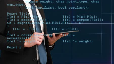 kifinomult : Digital composite of a businessman in suit while using a tablet and program codes move in the foreground Stock mozgókép