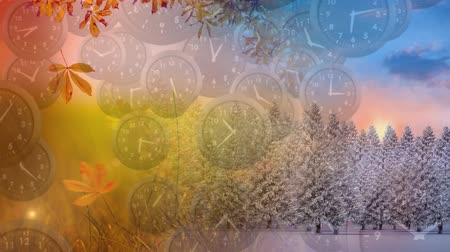 dia : Digital animation of clocks falling while the fall, spring, winter, and summer seasons are shown in the background