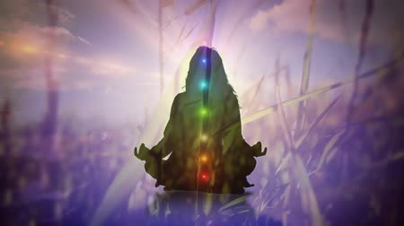 chakra : Digital composite of a silhouette of a woman doing yoga while different chakra glow and background of a field with grass Stock Footage
