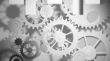 メカニカル : Digital animation of white gears and arrows moving in the screen