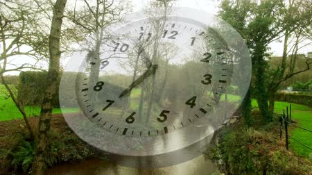 секунды : Digital animation of a white clock with moving hands and background of a park with a stream Стоковые видеозаписи