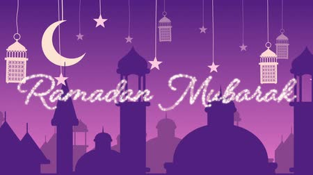 каллиграфия : Digitally generated animation of a silver glitter Ramadan Mubarak greeting with a purple background of mosque silhouettes and lanterns hanging with the stars and crescent moon in white Стоковые видеозаписи
