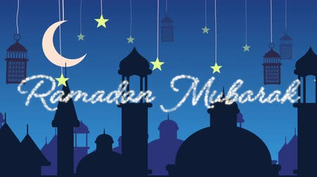 félhold : Digitally generated animation of a silver glitter Eid Mubarak greeting with a blue  background of mosque silhouettes and black lanterns hanging with yellow stars and crescent moon in white