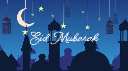 arabesk : Digitally generated animation of a silver glitter Eid Mubarak greeting with a blue  background of mosque silhouettes and black lanterns hanging with yellow stars and crescent moon in white