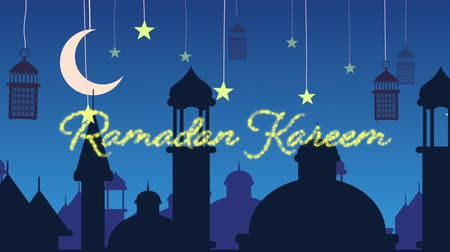 arabesk : Digitally generated animation of a gold glitter Ramadan Kareem greeting with a blue background of mosque silhouettes and black lanterns hanging with yellow stars and crescent moon in white