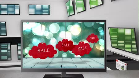 развлекать : Digital animation of a television with sale tags on its screen. Behind it are other televisions displayed on a wall