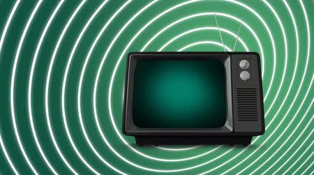 changing channel : Digital animation of a television with a green screen is on a spiralling white and green background