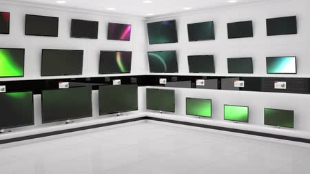 changing lights : Digital animation of displayed monitors showing flashes of different coloured light effects on a wall