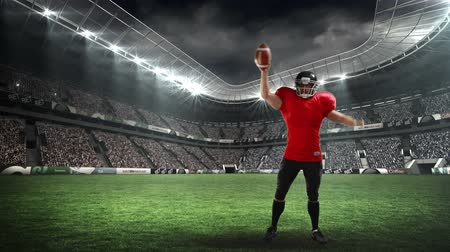 eufória : Digital animation of an American football player celebrating in a field stadium