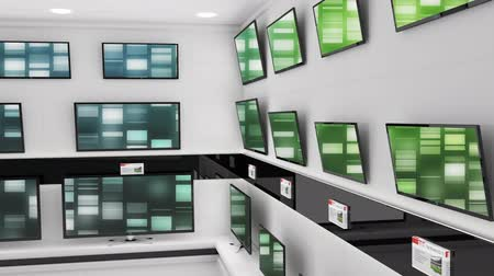 changing channel : Digital animation of flat screen televisions displayed at an electronics store