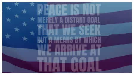 szlogen : Digital composite of quote about peace and an American flag waving in the background Stock mozgókép