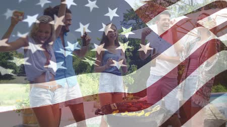 old glory : Digital composite of a group of friends drinking and dancing at a barbecue backyard party