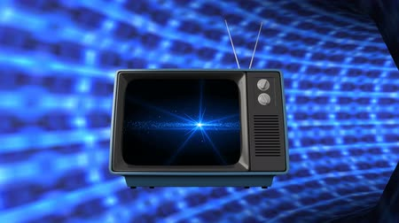 changing channel : Digital animation of a television travelling in an electric wire tube Stock Footage